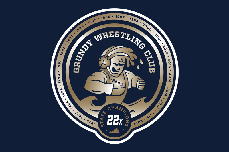 Grundy Wrestling Club 22x logo